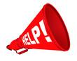 Постер, плакат: Help Помощь Рупор с надписью