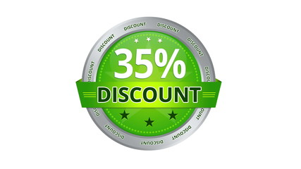 Green Animated 35 percent discount icon