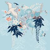 Japanese kimono motif with crane and flowers - 59403986