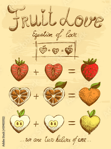 Fruit love formula vintage poster