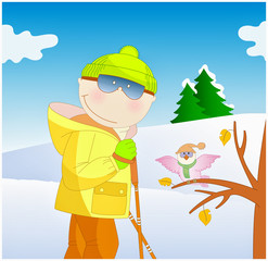 boy skiing