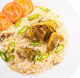 Traditional Arab Middle East dish Kabsa Rice with lamb