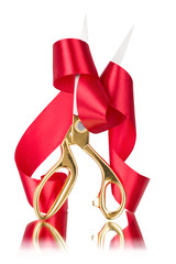 Scissors cut the red ribbon
