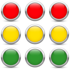 traffic lights buttons icons, three variants