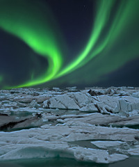 Nordlicht am Gletschersee Island