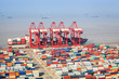 a busy shipping and port machinery background