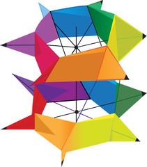 Large colorful box kite flying high under daylight