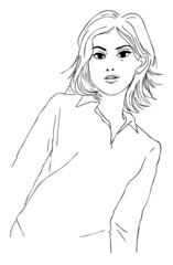 線画ー女性03