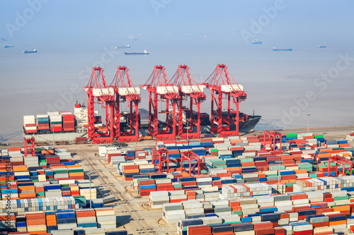 Aluminium a busy shipping and port machinery background