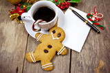 gingerbread man and a cup of coffee