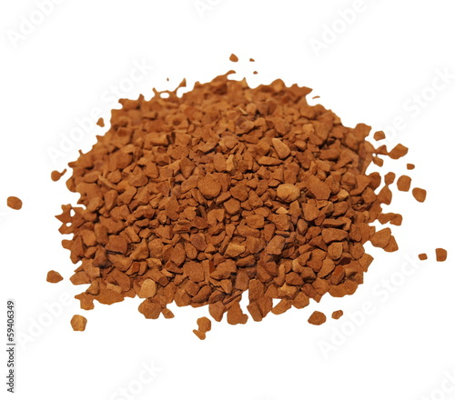 pile granulated instant coffee isolated on white background