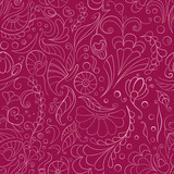 Seamless pink background with stylized flowers