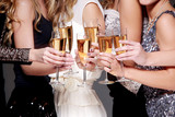 New year celebration with a glass of champagne