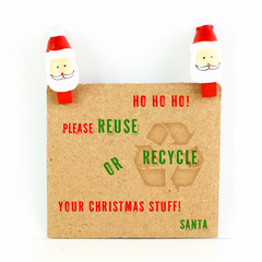 After Christmas card with environmental message with Santa isola