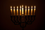 The lit of hanukkah candles