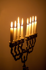 candles on hanukkah menorah
