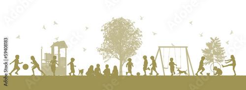 Leinwanddruck Bild children on the playground