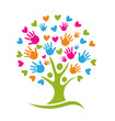 Vector of Tree with hands and hearts logo