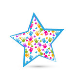 Star with children hands logo vector