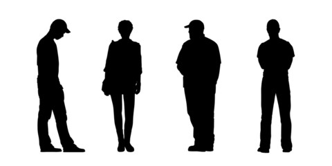 people standing outdoor silhouettes set 3