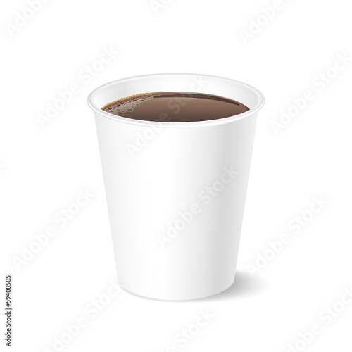 Opened take-out coffee, isolated on a white
