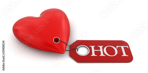 Heart with label Hot (clipping path included)