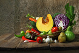Still life harvested vegetables agricultural  on wooden backgrou