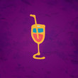 Wine glass icon with a straw hand drawing illustration