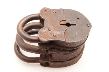 The old locks on a white background
