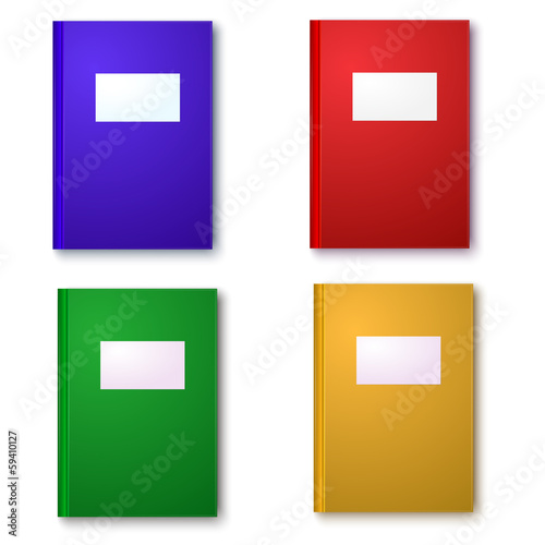 Multicolored Books on gray background