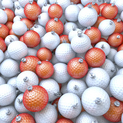 Menge, Haufen, viele Golfbälle als Weihnachtskugeln