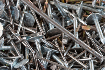 Heap of metal nails