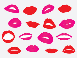 Set of red and pink lips illustration
