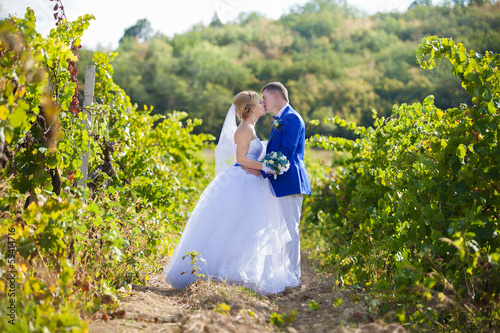 Wedding couple in summer nature