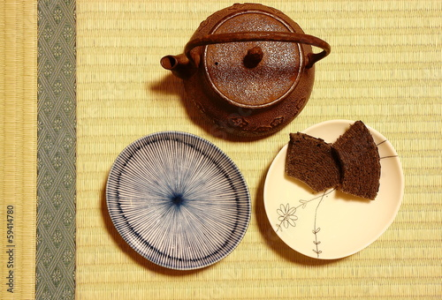 Japanese teapot over  tatami