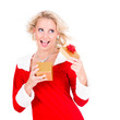 Happy young girl with Christmas gift over white background