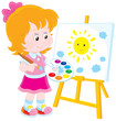 Little girl drawing a picture with a smiling sun