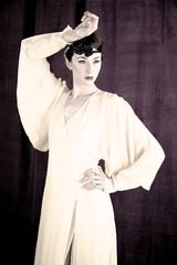 Intense female model posing in studio