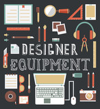 Vector set of equipment for design. Designer gadgets