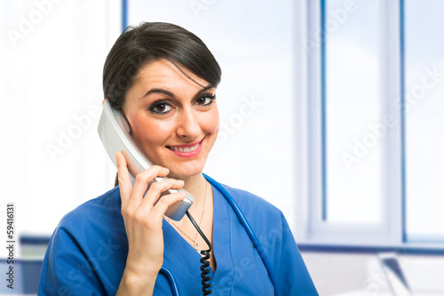 Nurse talking on the phone