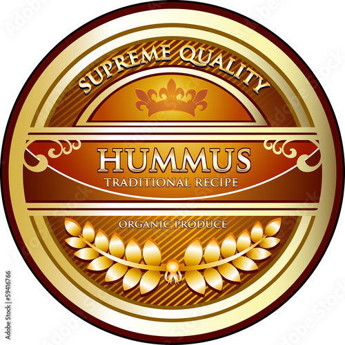 Hummus Traditional Recipe Vintage Label