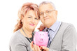 Middle aged couple holding a piggy bank