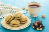 Homemade cookies, chocolate and tea