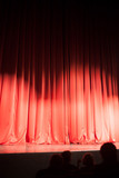 red curtain at theater stage