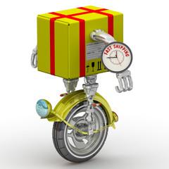 Fast shipping . Посылка в виде робота на колесе