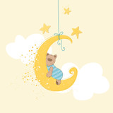 Baby Shower or Arrival Card - Sleeping Baby Bear