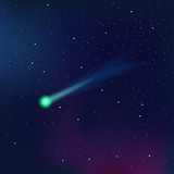 Comet on a starry sky vector illustration