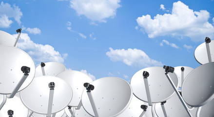 satellite dish space technology receiver over blue sky