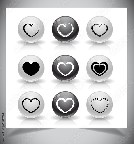 Set of heart buttons