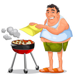 man doing a barbecue